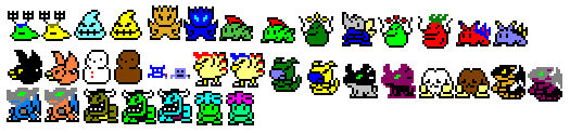 Coloured Digimon LCD sprites