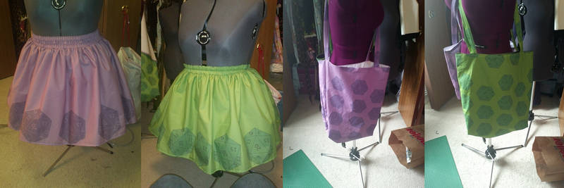 D20 totes and skirts