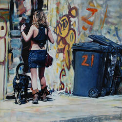 Visitor at no.21 (oil on board) (50x50cm)