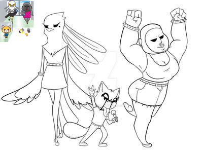 Aggretsuko Outline WIP by art-in-distress