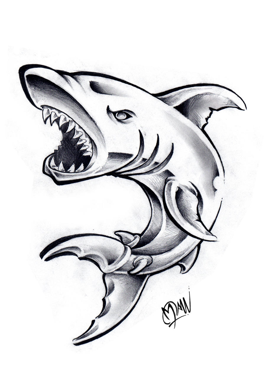 Shark by ManuManuTattoo