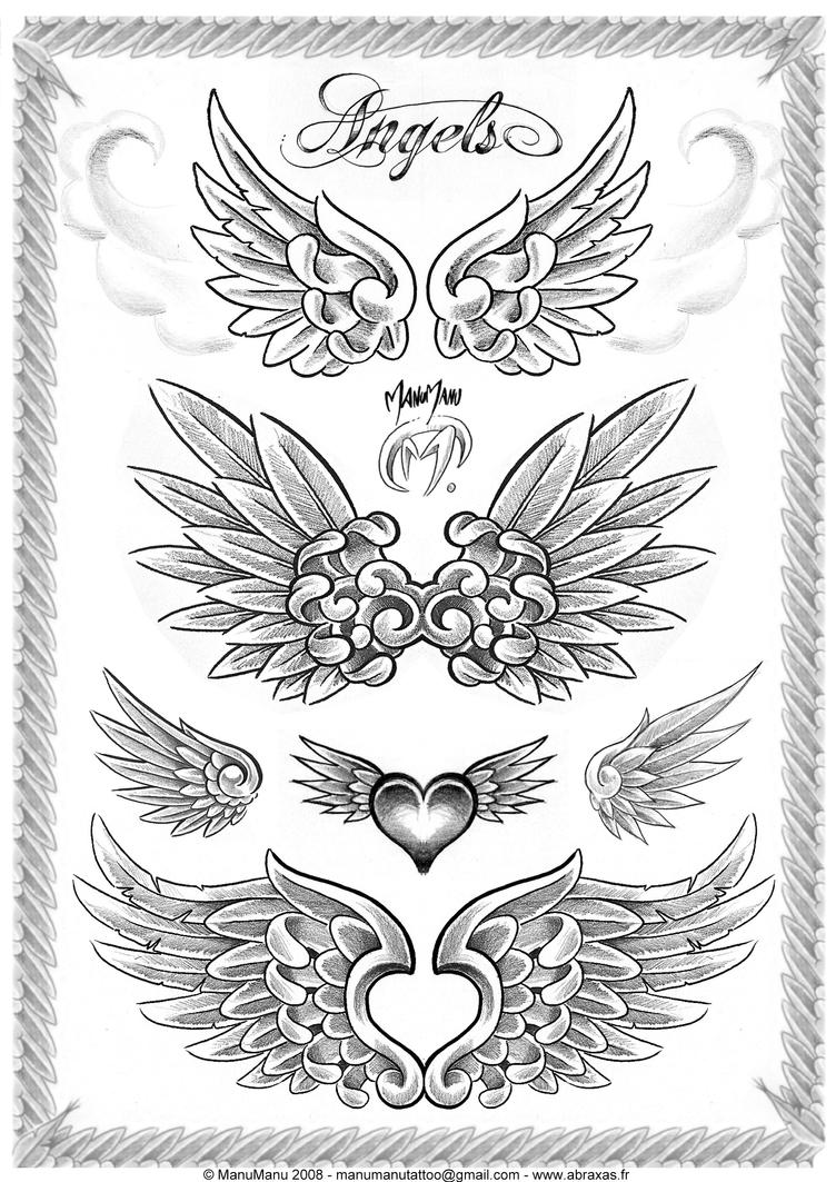 angel wing tattoos with names