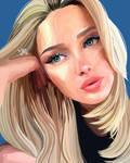 Blue eyeliner selfie illustration