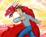 RED DRAGON- watercolor