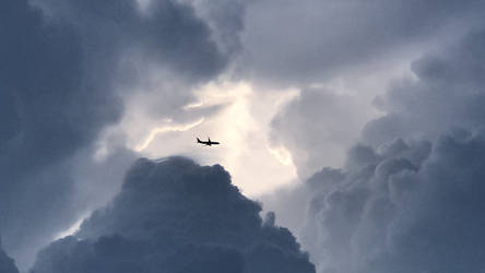 Cloud Cavern with Plane