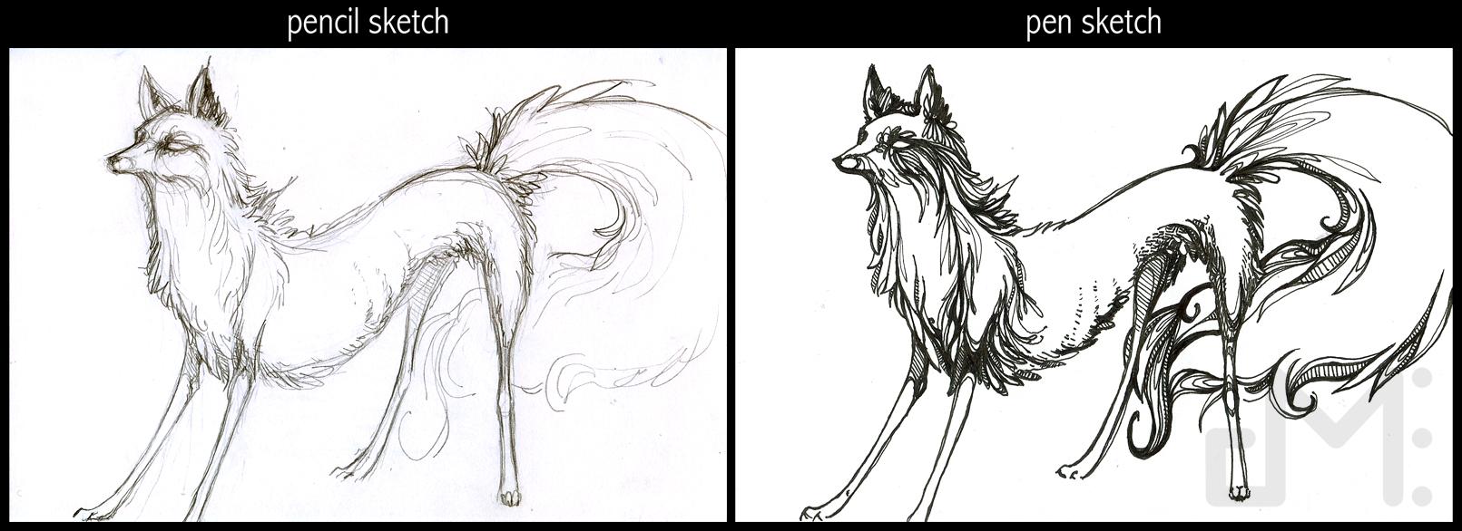 Line Art Vs Sketch : Pencil sketch vs pen drawing by dmaterialize on deviantart