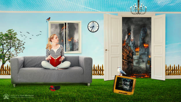 Stay home stay safe, photo manipulation (artwork)