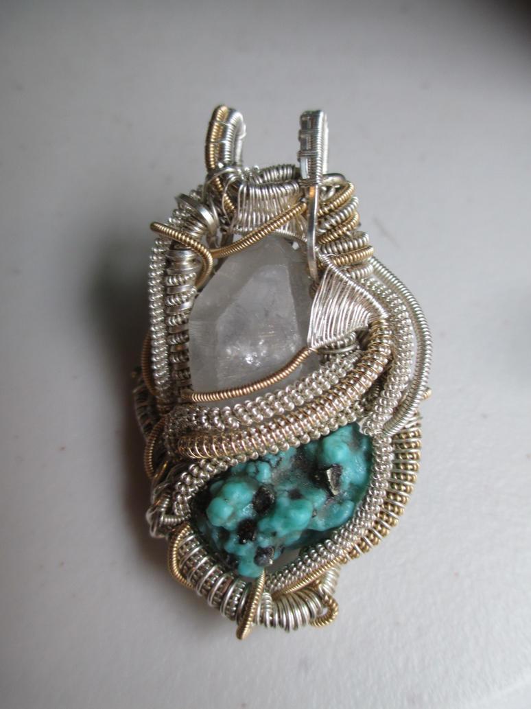 Turquoise, hematite and quartz wire pendant by Civyx