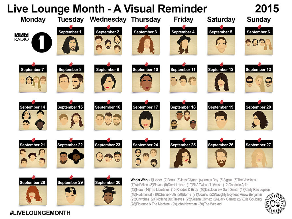 Radio1 Live Lounge Posteritty Calendar Wallpaper by Posteritty