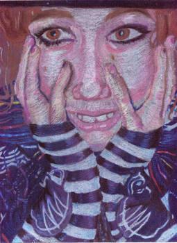 Freakish oil pastel portrait