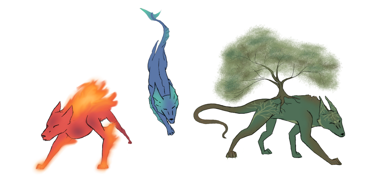 Elemental Wolves by umigiumi on DeviantArt