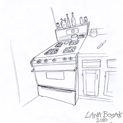 how to draw a stove top