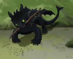 Toothless the artist by KodarDragon