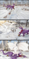 White dragonesses are dangerous in the snow!
