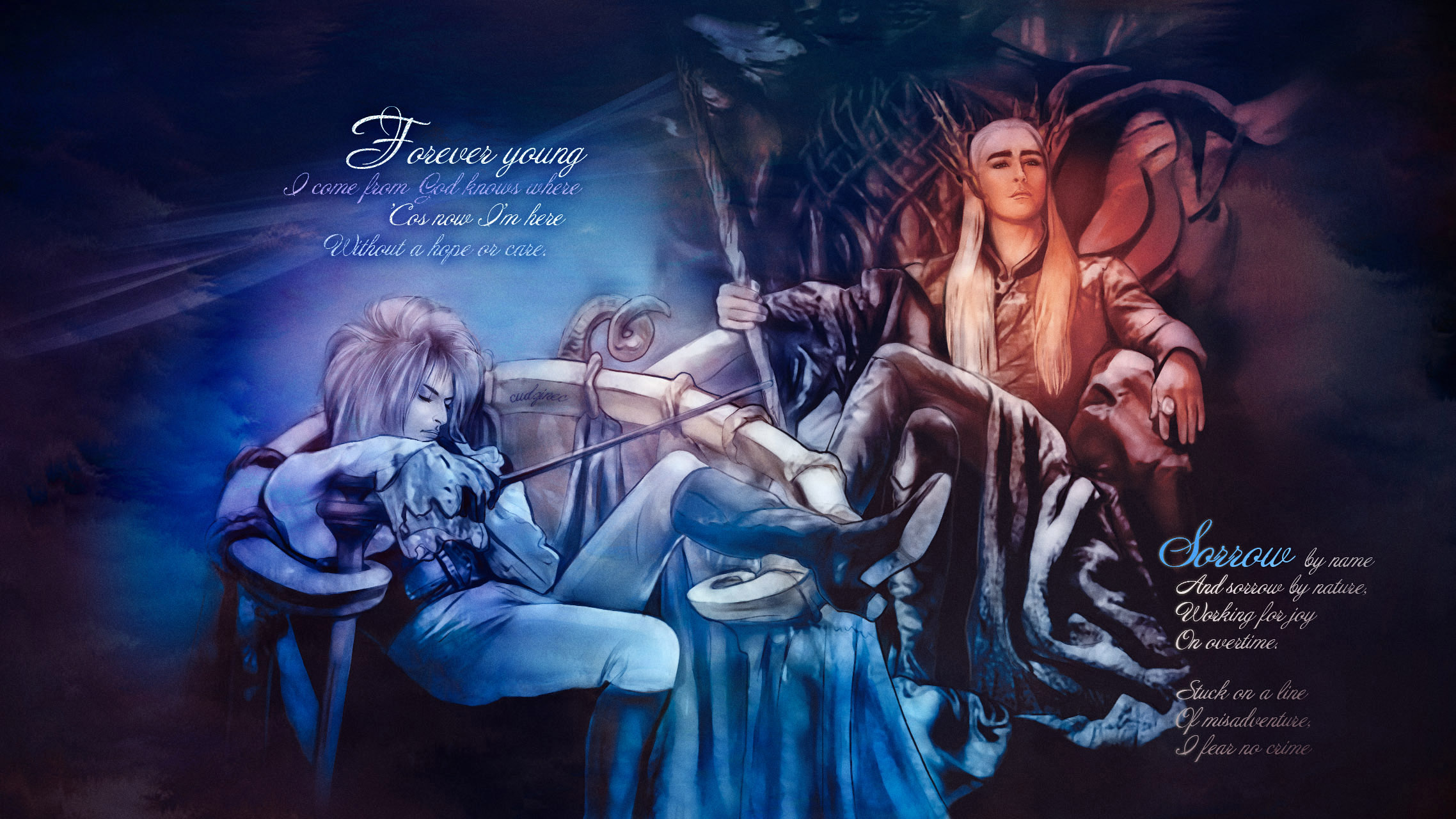 Kings of fairy lands: Jareth and Thranduil by Cudzinec on ... Labyrinth 1986 Wallpaper