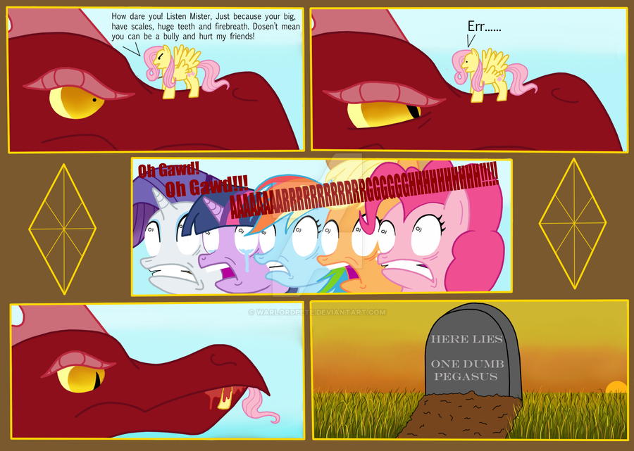Fluttershy vs REAL Dragon by WarlordPete