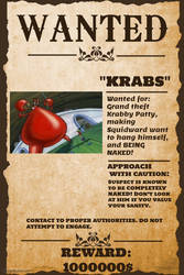 Krabs Wanted Poster by Kermitthefrog223456