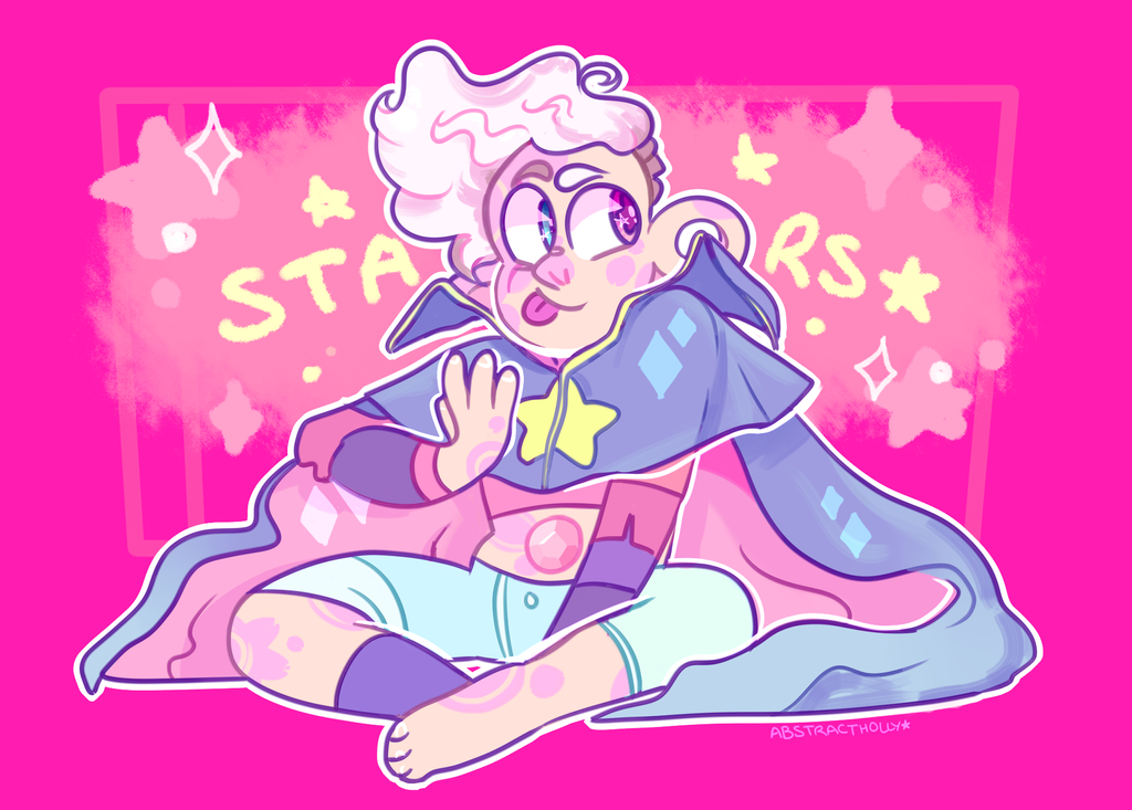 STARS 2.0 WOOHOO!! He now has a bunch of pink skin patterns and a rad cape! Also,,, his hair,,,, is the fluffiest thing in the universe,,,, like a mix between neapolitan icecream,,, n ...