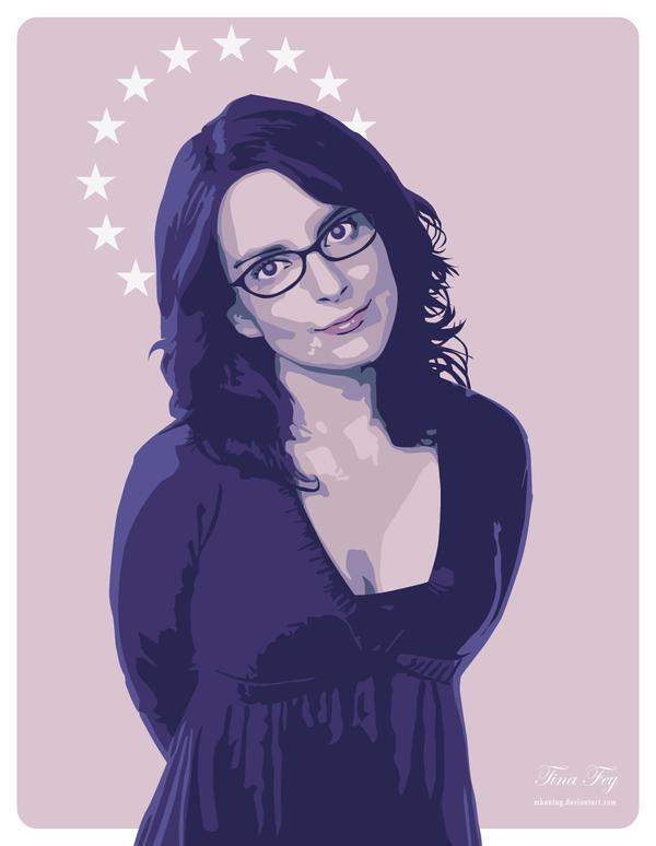 Tina Fey vector portrait illustration