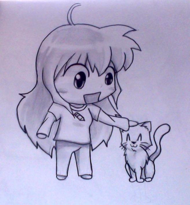 me and Sesshomaru cat by IfreakenLoveDrawing