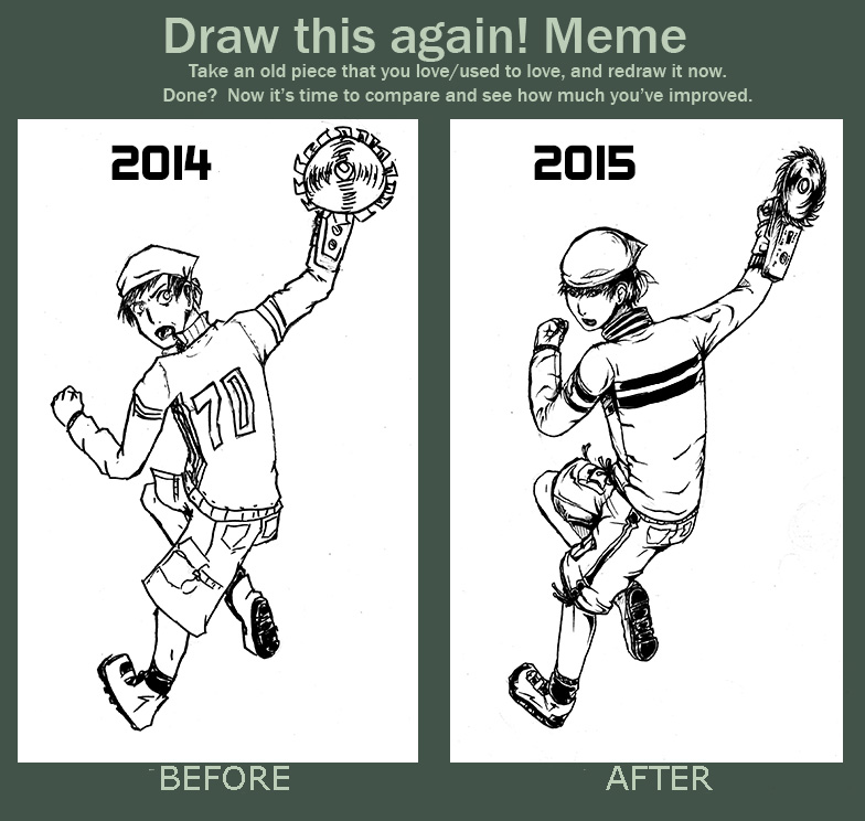 Inking test Before and After by Green-Fighter