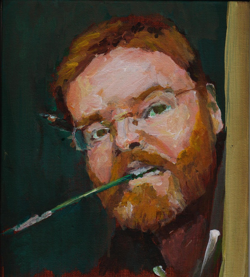 Self Portrait in Acrylic With Brush by 80sdisco