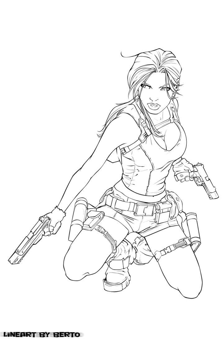 lara croft lineart by diabolumberto - Lara Croft Coloring Pages