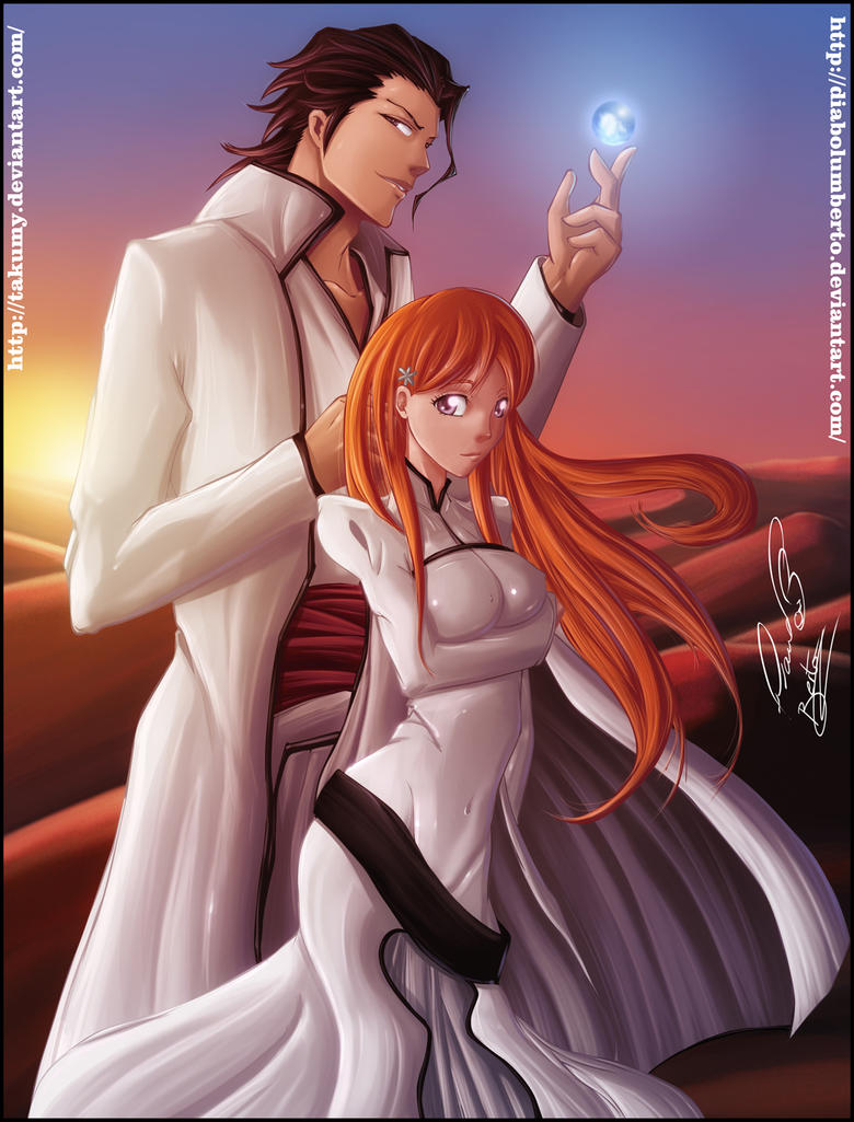 Aizen and Orihime by diabolumberto
