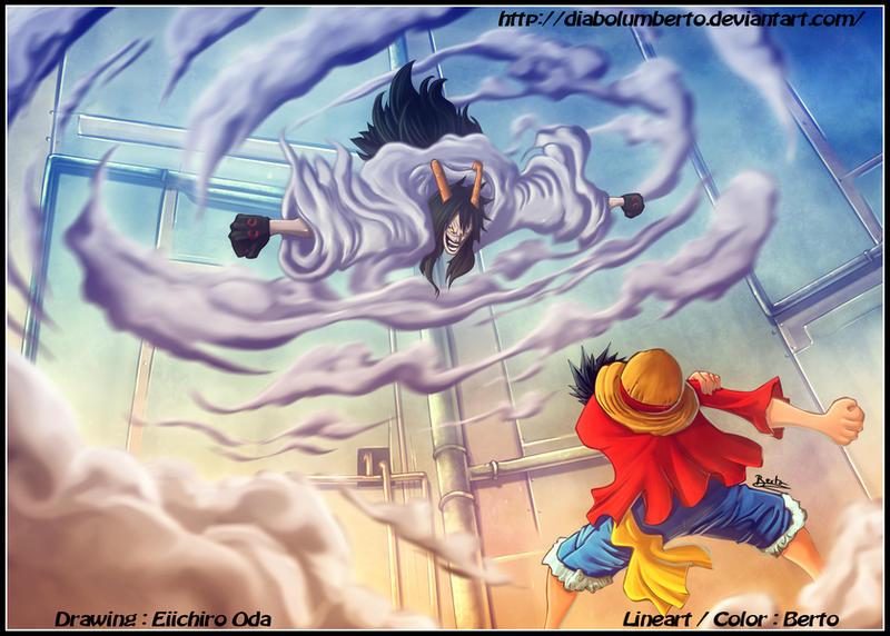 Luffy vs Caesar by diabolumberto