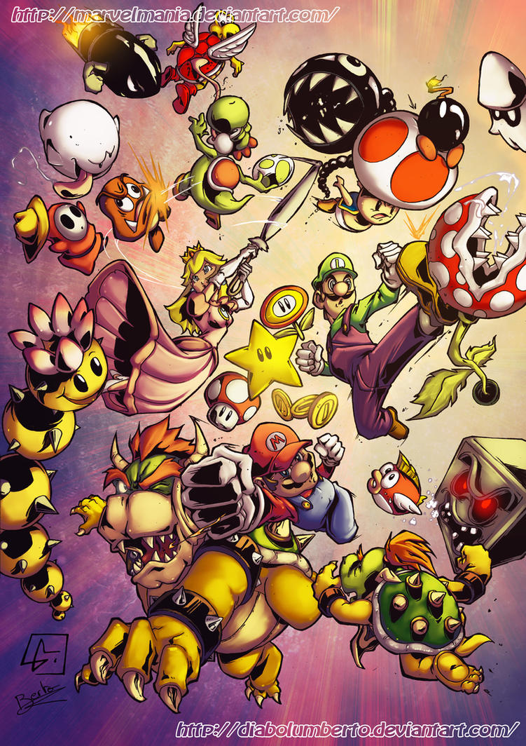 Super Mario and Friend vs Enemies by diabolumberto