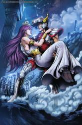 Seiya and Athena by diabolumberto