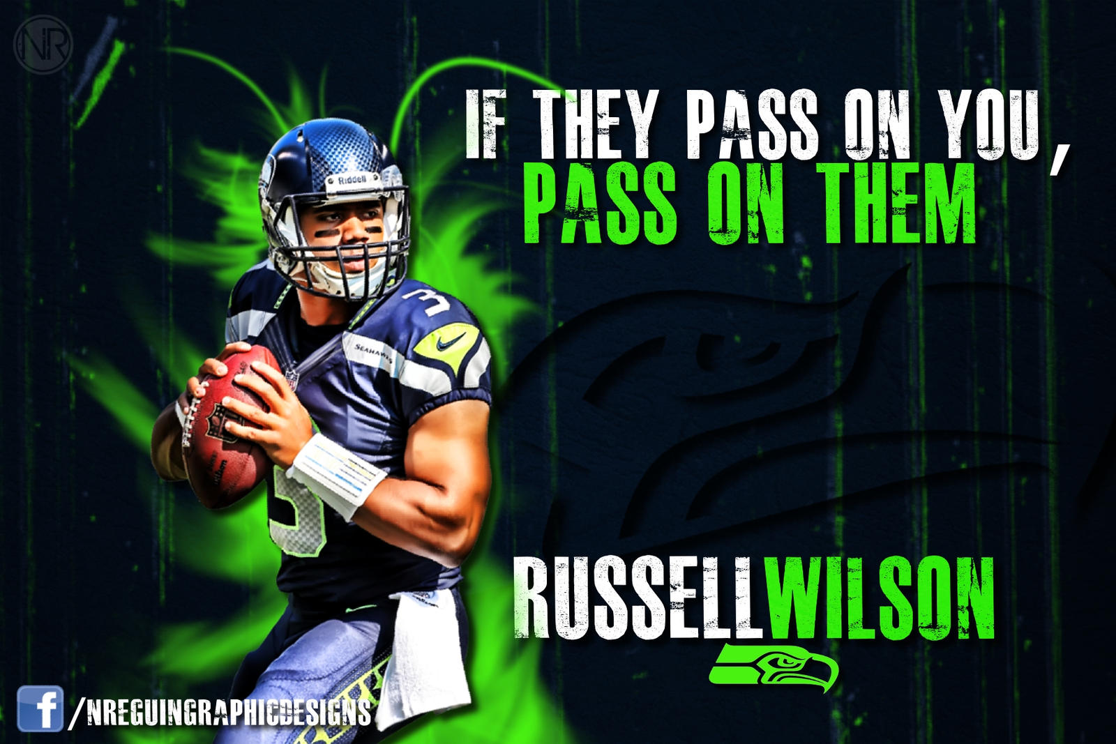 NReguinGraphicDesign HD Russell Wilson Green Pass On Them Wallpaper By