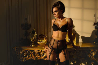 Marina in Black Lingerie by FlexDreams