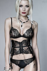 Milana in Black Lingerie 3344 by FlexDreams