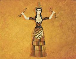 Minoan Snake goddess Painting
