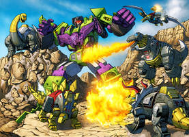 Dinobots vs. Devastator by Dan-the-artguy