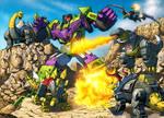 Dinobots vs. Devastator