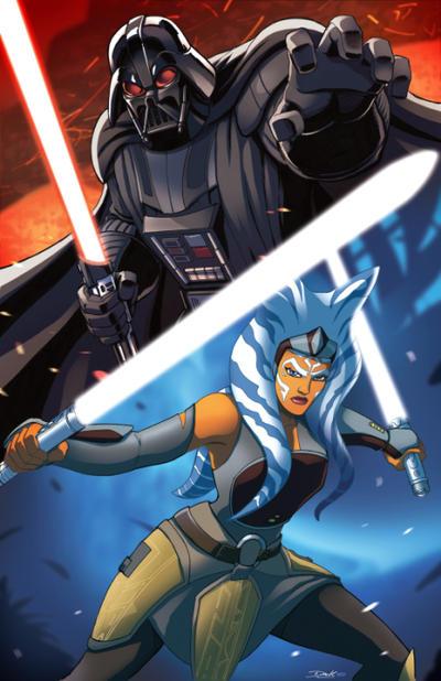 Star Wars Darth Vader v. Ashoka by Dan-the-artguy