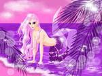 Mermaid at the beach - heavily pink