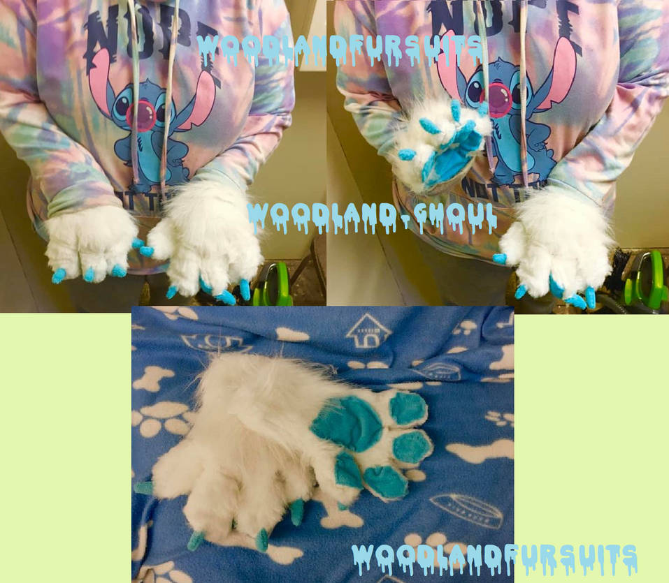 white canine handpaws (NOT FOR SALE)