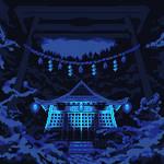 Torii To The Blue Light Shrine by Lakelezz