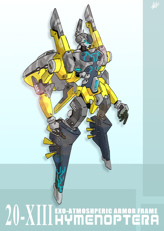 Mecha Design Hymenoptera (colour version mk1) by yanharrison