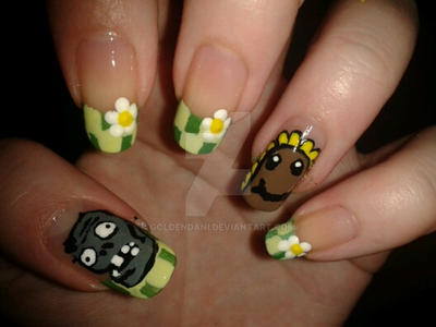 Plants vs Zombies nail design! by GoldenDani