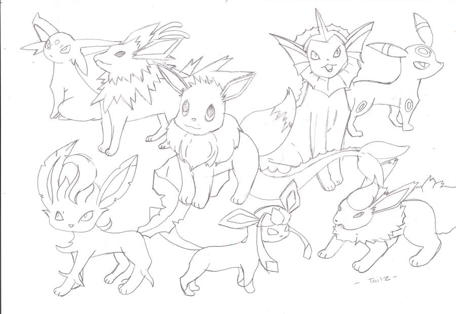 Pokemon Eevee Evolutions - Free Colouring Pages