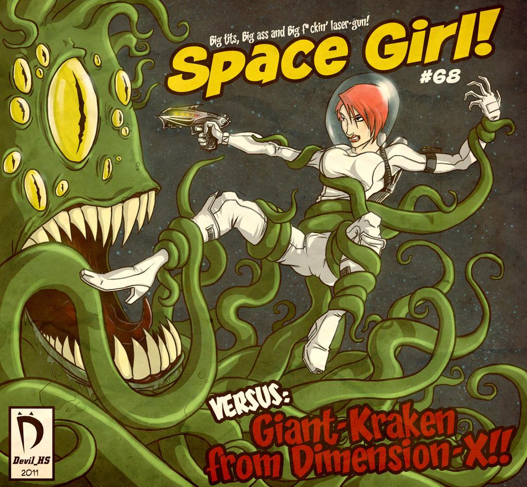 Space Girl vs Kraken by devilhs