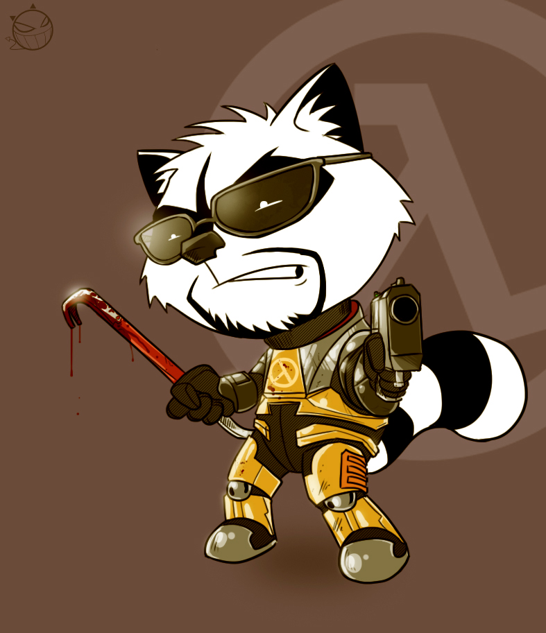 Gordon Freeman Raccoon by DevilHS