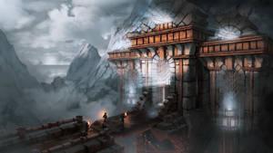 Gate (steampunk concept illustration)