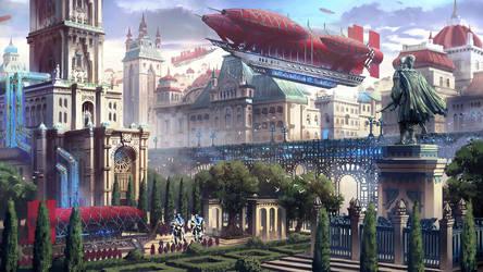 Talmetra (cityscape illustration concept) by DamianKrzywonos