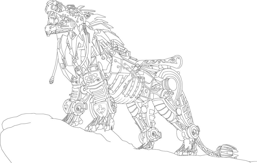Mechanical Lion Lineart thing by SharinganAce