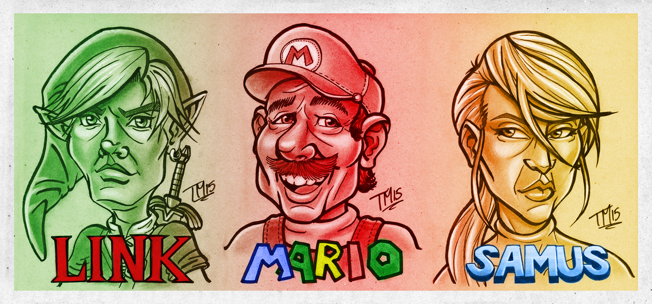 Nintendo Power Trio Caricatures by Hyde209